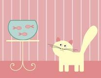 Gato e peixes Imagens de Stock