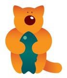 Gato e peixes dos desenhos animados Fotos de Stock