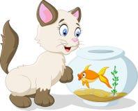 Gato e peixes dos desenhos animados Imagem de Stock