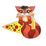 Gato e pizza engraçados ilustração royalty free