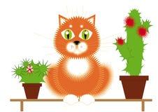 Gato e plantas vermelhos Ilustração Stock
