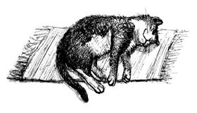 Gato el dormir Línea arte stock de ilustración