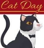 Gato elegante con la piel como el smoking para celebrar a Cat Day, ejemplo del vector stock de ilustración