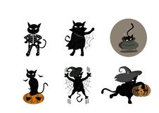 Gato em trajes diferentes para Dia das Bruxas ilustração do vetor