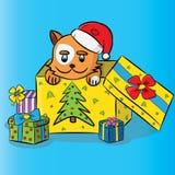 Gato em um chapéu de Santa com presente Fotos de Stock