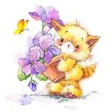 Gato embrome el fondo para celebran festival y la fiesta de cumpleaños watercolor Imagenes de archivo