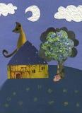 Gato en el claro de luna - ilustraciones Foto de archivo libre de regalías