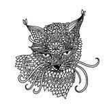Gato en estilo del modelo de la mandala Fondo blanco y negro de Zentagle Libro de colorear adulto Ilustración del vector ilustración del vector