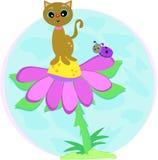Gato en la flor con señora Bug stock de ilustración