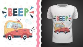 Gato en la idea automotriz para la camiseta de la impresión stock de ilustración