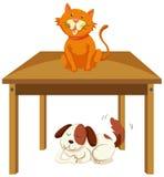 Gato en la tabla y el perro debajo de la tabla stock de ilustración