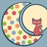 Gato en la tarjeta de felicitación de la luna Foto de archivo libre de regalías