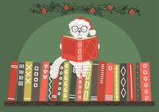 Gato en libro de lectura del sombrero de la Navidad stock de ilustración