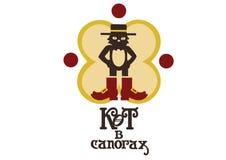 Gato en logotipo de la compañía del sombrero de las botas foto de archivo