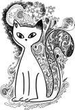 Gato en los doodles incompletos del claro de luna Foto de archivo