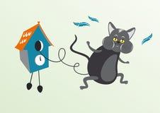 Gato en reloj de cuco Foto de archivo libre de regalías