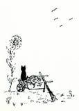 Gato en una carretilla Fotos de archivo