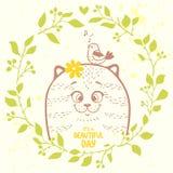 Gato en una guirnalda libre illustration