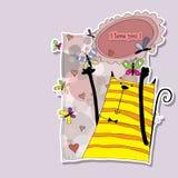 Gato encantador con las mariposas y los corazones Ilustración del Vector