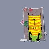 Gato encantador que se sienta en el pote con las flores detrás el suyo detrás Libre Illustration