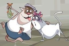 Gato engraçado dos pares dos desenhos animados e o gato com os peixes Imagem de Stock