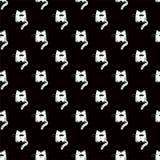 Gato engra?ado Teste padr?o preto e branco sem emenda Silhueta de um animal dos desenhos animados Projeto de matéria têxtil com g ilustração royalty free