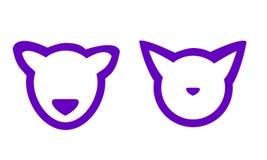 Gato estilizado e cão do vetor ilustração do vetor