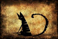 Gato fêmea preto no fundo de Brown Fotografia de Stock Royalty Free