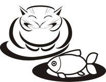Gato feliz con los pescados ilustración del vector