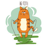 Gato gordo de la historieta linda que salta con la cuerda que salta Fotos de archivo