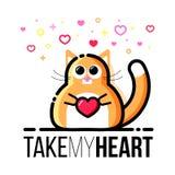 Gato gordo lindo que lleva a cabo el corazón en patas Tarjeta de felicitación del diseño de Valentine Day del santo Línea estilo  stock de ilustración