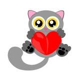 Gato gris de la historieta con el corazón stock de ilustración
