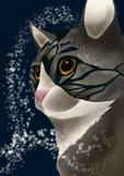 Gato gris misterioso stock de ilustración