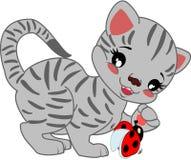 Gato gris rayado de la historieta ilustración del vector