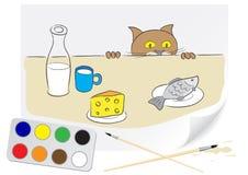 Gato hambriento de drenaje stock de ilustración