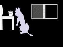 Gato hambriento para la leche stock de ilustración