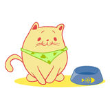 Gato hambriento que se sienta en los cuencos para la comida stock de ilustración