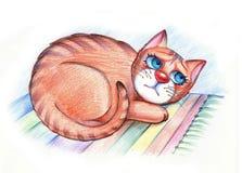 Gato hambriento triste ilustración del vector