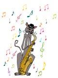 Gato ilustrado do músico Imagem de Stock