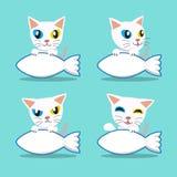 Gato Impar-observado personaje de dibujos animados con la muestra grande de los pescados Fotos de archivo libres de regalías
