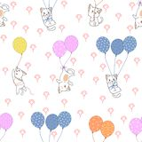 Gato inconsútil y modelo colorido de los globos libre illustration
