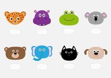 Gato, jaguar, cão, hipopótamo, elefante, urso, rã, coala Cara principal animal do jardim zoológico Placa do texto Jogo de caracte Fotografia de Stock