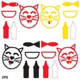 Gato, leite, pixel, bacia, peixe, preto Imagens de Stock