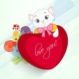 Gato lindo con el corazón para la celebración feliz del día de tarjetas del día de San Valentín Foto de archivo