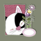 Gato lindo con las flores para la enhorabuena Imagenes de archivo