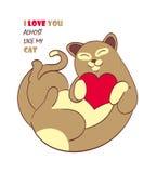 Gato lindo de la historieta con el corazón para el sitio, postal, presente Ilustración del vector Foto de archivo