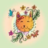 Gato lindo de la historieta con floral Foto de archivo