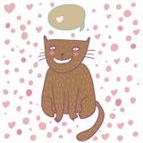 Gato lindo de la historieta que piensa - en vector Imagen de archivo libre de regalías
