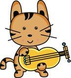 Gato lindo de la historieta que toca el instrumento musical ilustración del vector