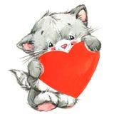 Gato lindo de Valentine Dayand y corazón rojo watercolor Fotografía de archivo libre de regalías